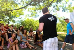 Simon and I team teaching in Central Park, New York